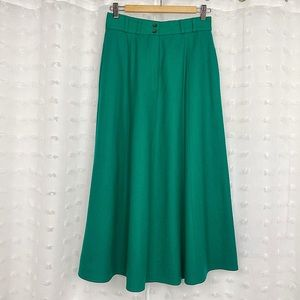 Vintage 80s kelly green wool midi skirt
